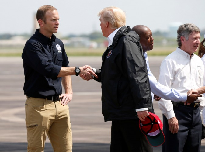 U.S. President Donald Trump meets FEMA Director Brock Long REUTERS/Kevin Lamarque