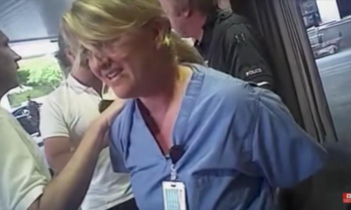 Nurse Alexandra Wubbels during her illegal arrest on July 26. (Salt Lake City Police Department)