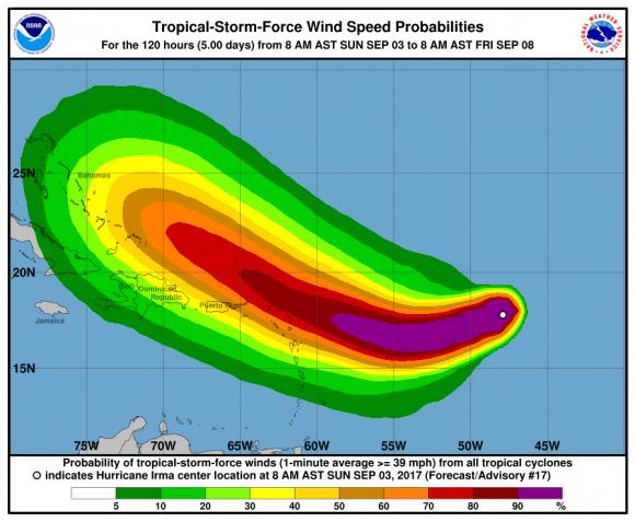 Hurricane Irma graphic by the National Hurricane Center on Sept. 3, 2017. (NOAA)