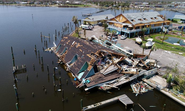 An aerial photo shows damage caused by Hurricane Harvey in Rockport, Texas, on Aug. 31, 2017. (Reuters/DroneBase)