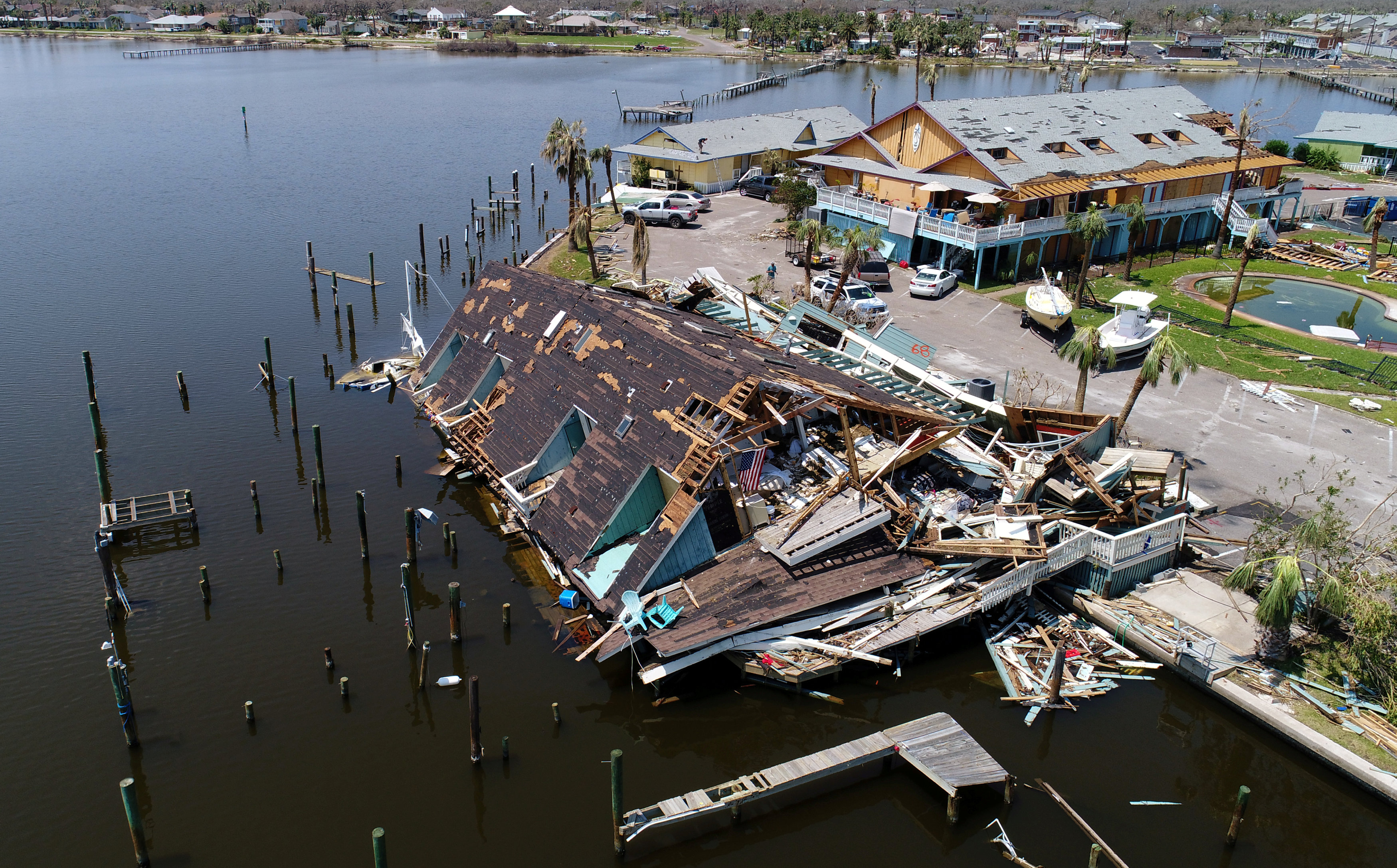 An aerial photo shows damage caused by Hurricane Harvey in Rockport, Texas on Aug. 31, 2017. (REUTERS/DroneBase)