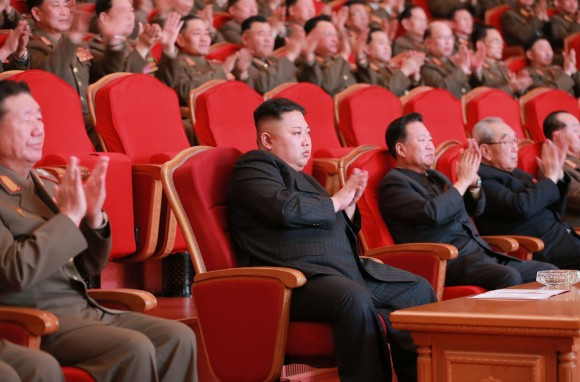 North Korean leader Kim Jong-Un (C) in Pyongyang on Fe. 22, 2017. (STR/AFP/Getty Images)