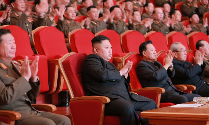 North Korean leader Kim Jong-Un (C) in Pyongyang on Fe. 22, 2017. (STR/AFP/Getty Images)