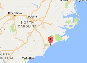 The area of Surf City and North Topsail Beach, N.C. (Screenshot via Google Maps)
