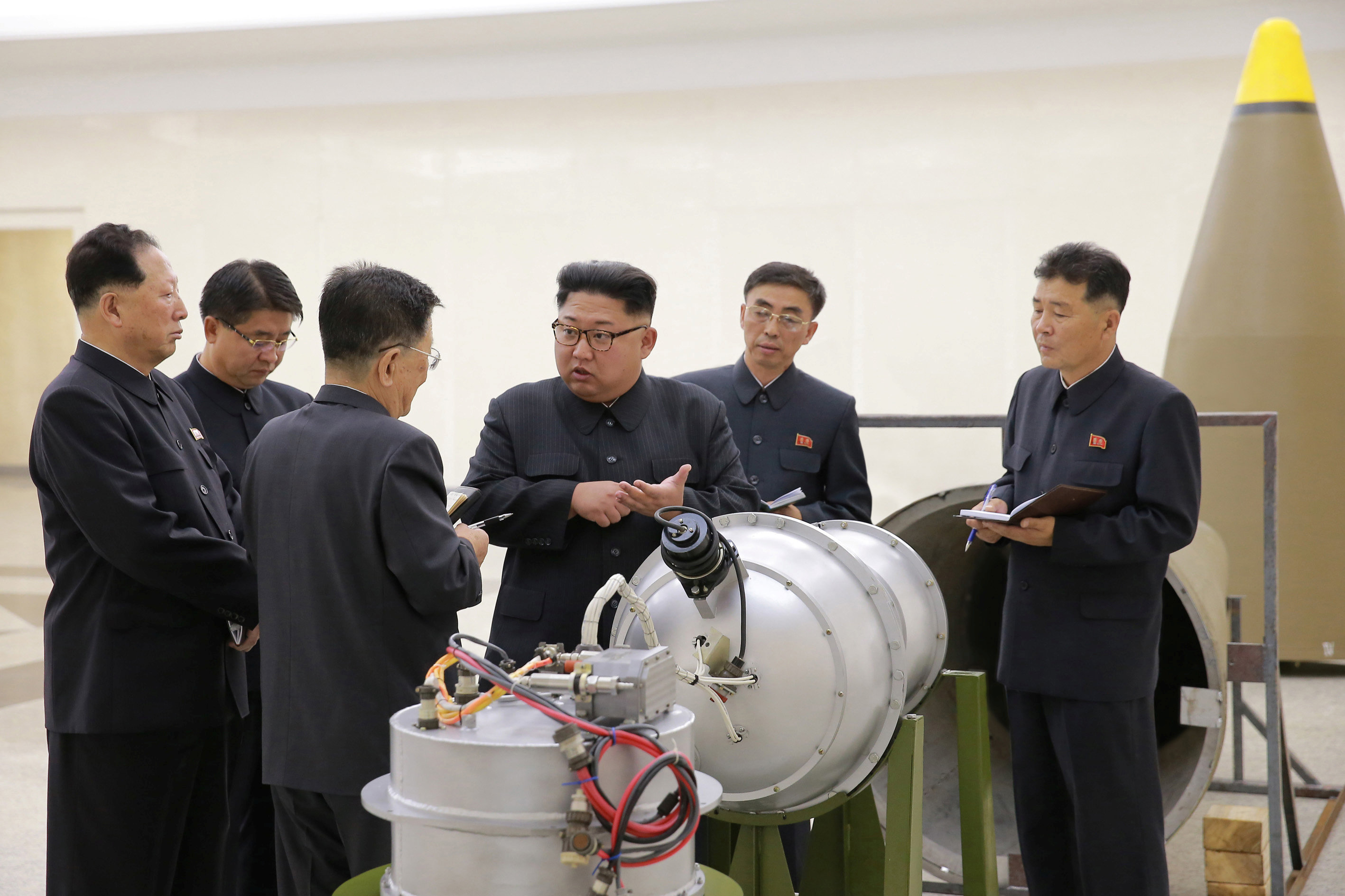 North Korean leader Kim Jong Un provides guidance on a nuclear weapons program in this undated photo released by North Korea's Korean Central News Agency (KCNA) in Pyongyang on Sept. 3, 2017. (KCNA via REUTERS)