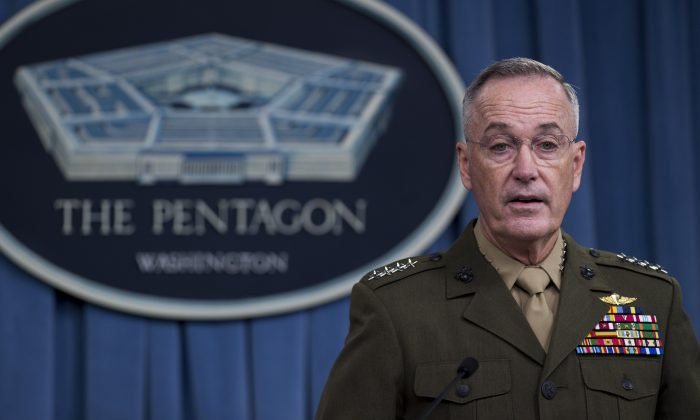 Chairman of the Joint Chiefs of Staff Marine General Joseph Dunford Jr. at the Pentagon in Washington on May 19, 2017. (SAUL LOEB/AFP/Getty Images)