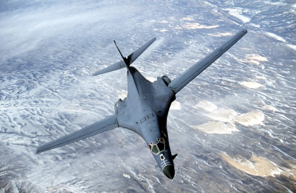 A B-1B long range strategic bomber in a file photo. In July this year the U.S. flew two of the bombers over the North Korean penninsula in a demonstration of force. Michael Green, the senior vice president for Asia and Japan Chair at CSIS, said that China needs to be compelled to change through a forcible approach, such as building the fear of a U.S. attack on North Korea in the minds of the Chinese regime rulers. (Courtesy USAF/Getty Images)