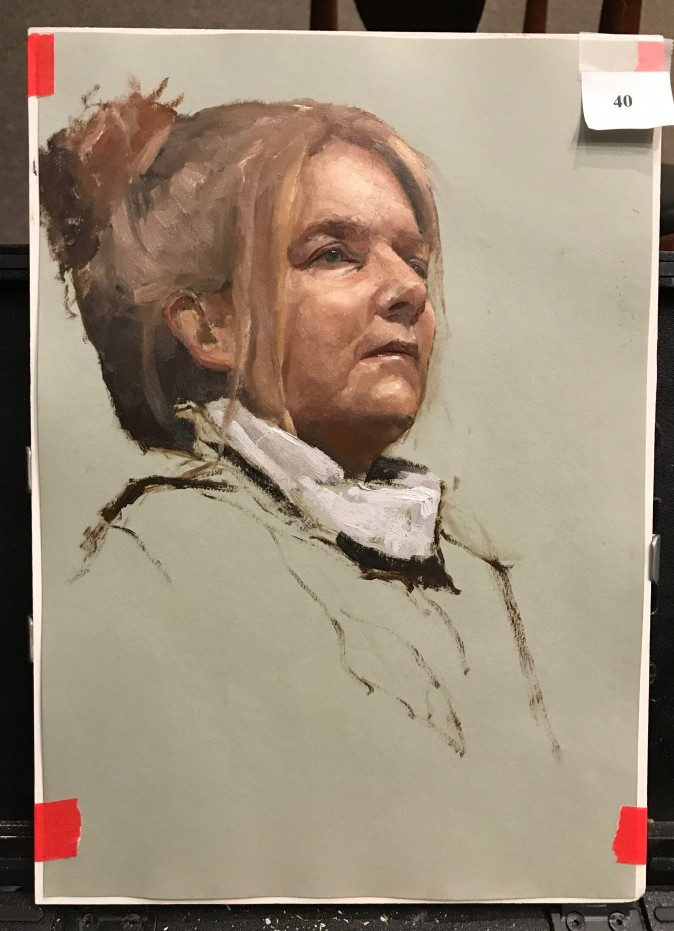 Oil painting sketch by Gregory Mortenson, the second prize winner of the Oil Painting Sketch Competition at the Salmagundi Club in New York on Aug. 26, 2017. (Milene Fernandez/The Epoch Times)