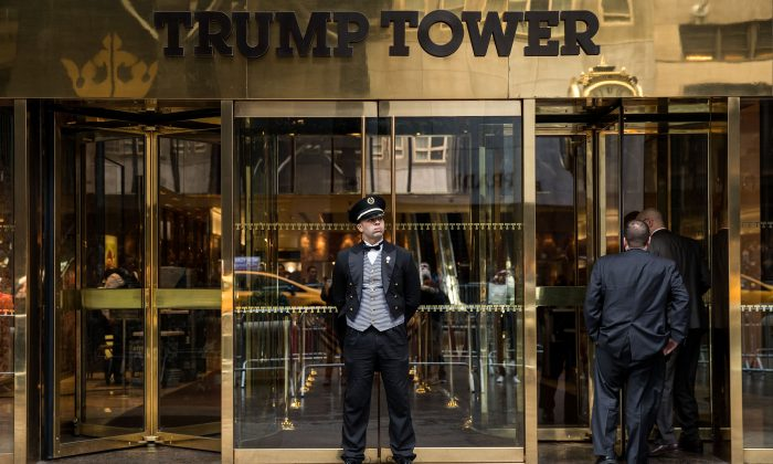 The entrance to the Trump Tower on Fifth Avenue in New York on March 7, 2017. (Drew Angerer/Getty Images)
