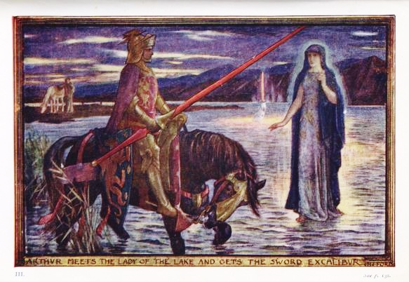 "Illustration by H.J. Ford for Andrew Lang's Tales of Romance, 1919. ""Arthur meets the Lady of the Lake and gets the Sword Excalibur."" (H.J. Ford/Public Domain)"
