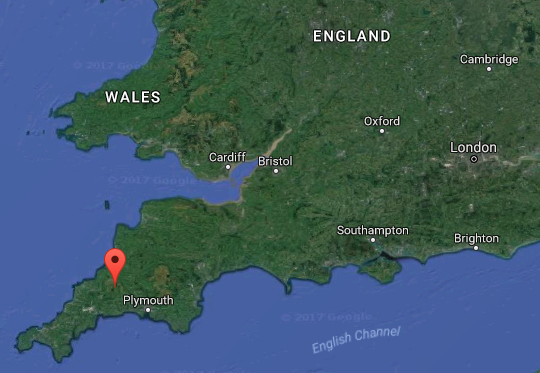 Location of the Dozmary Pool, United Kingdom. (Screenshot via Google Maps)