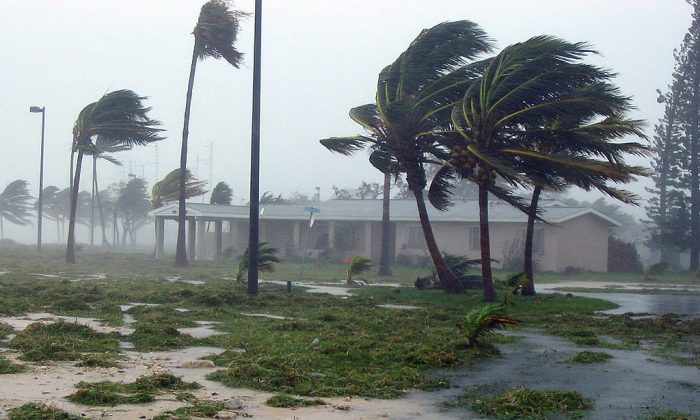 A housing unit located at Naval Air Station (NAS) Key West's Truman Annex just after the eye of Hurricane Dennis passed within 80 miles of the base in 2005.  The base is now evacuating 5,000 personnel in preparation for Hurricane Irma, predicted to arrive this weekend. (U.S. Navy photo by Ens. Chris Wells)