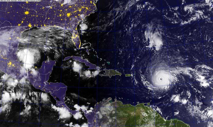 Hurricane Irma, a category 5 hurricane, is expected to hit Florida this weekend. President Donald Trump says he is monitoring the developments closely and has signed an emergency declaration. (U.S. Navy photo/Handout via REUTERS)