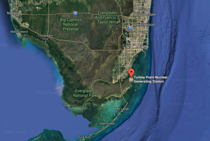 The location of Turkey Point Nuclear Generating Station in Homestead, Fla. (Screenshot via Google Maps)