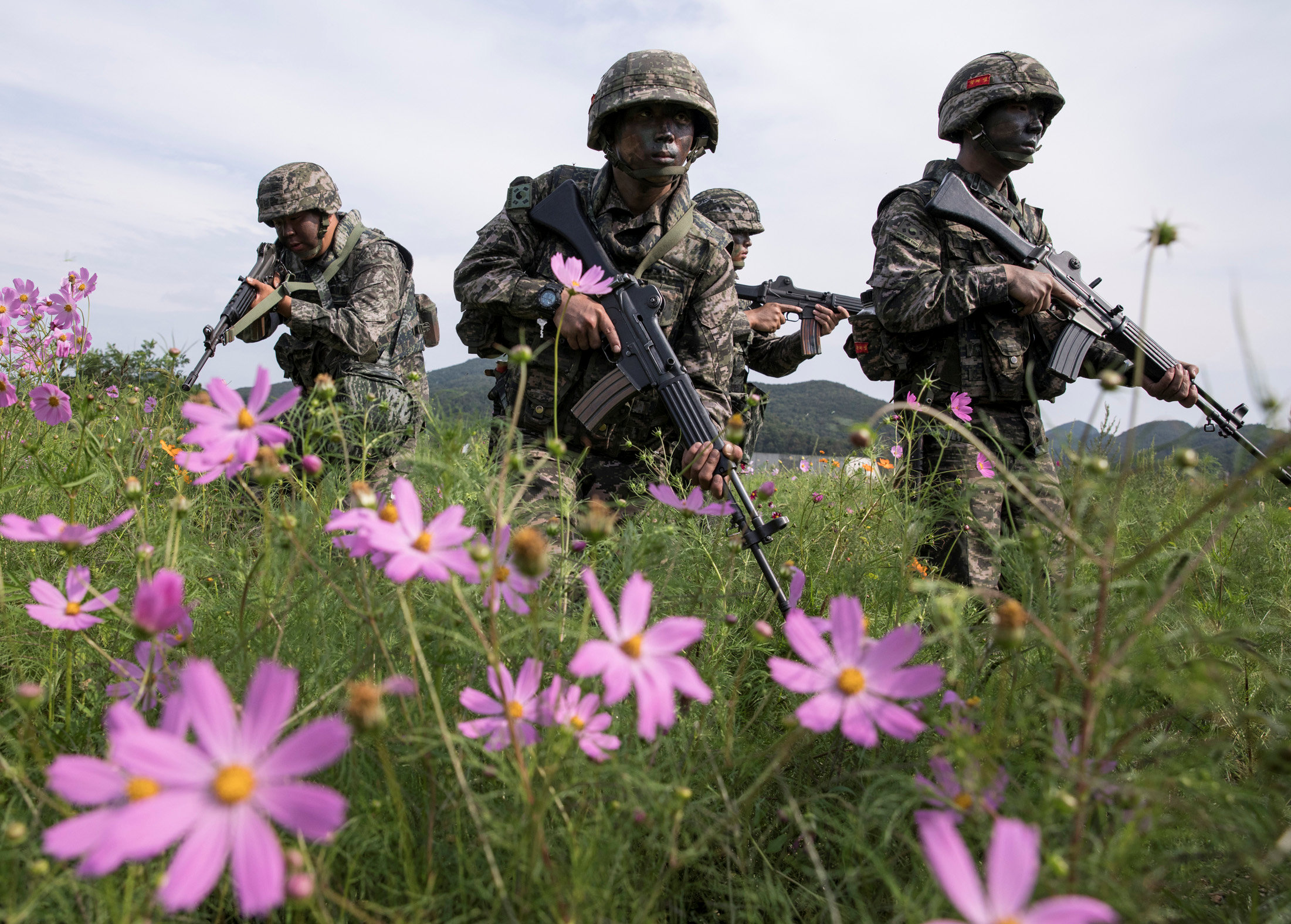 South Korean marines take part in a military exercise on South Korea's Baengnyeong Island, near the disputed sea border with the north, in this handout picture provided by South Korean Marine Corps and released by Yonhap on Sept. 7, 2017. (South Korean Marine Corps/Yonhap via REUTERS)