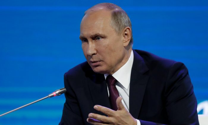 Russian President Vladimir Putin speaks during a session of the Eastern Economic Forum in Vladivostok, Russia on Sept. 7, 2017. (REUTERS/Sergei Karpukhin)