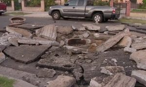 Los Angeles Street Explodes, Sending 7-Inch Thick Asphalt Chunks Flying