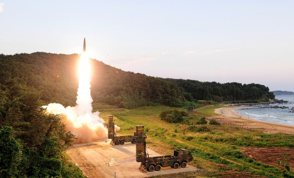 In this handout photo released by the South Korean Defense Ministry, South Korea's Hyunmu-2 ballistic missile is fired during an exercise aimed to counter North Korea's nuclear test on September 4, 2017 in East Coast, South Korea. (South Korean Defense Ministry via Getty Images)