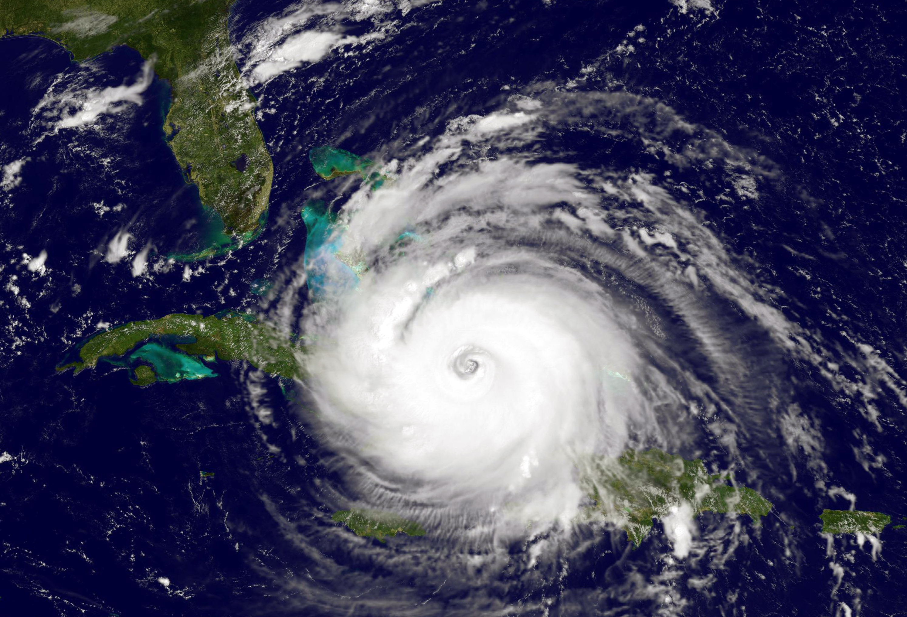Satellite shows Hurricane Irma as it moves towards the Florida Coast as a category 4 storm in the Caribbean Sea taken at 14:45 UTC on Sept. 08, 2017. (NOAA GOES Project via Getty Images)