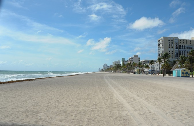 An empty beach is seen before the arrival of hurricane Irma in Miami, Florida on September 8, 2017. Florida Governor Rick Scott warned that all of the state's 20 million inhabitants should be prepared to evacuate as Hurricane Irma bears down for a direct hit on the southern US state. / AFP PHOTO / Michele Eve Sandberg        (Photo credit should read MICHELE EVE SANDBERG/AFP/Getty Images)