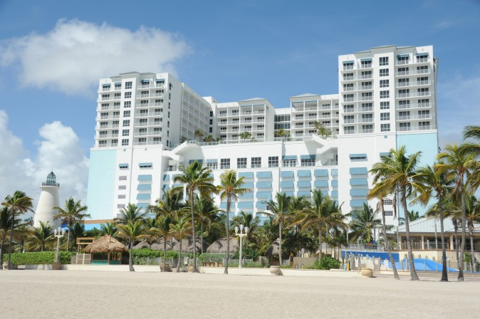 Margaritaville Hollywood Beach Resort is seen after it closed up ahead of the arrival of hurricane Irma at Hollywood Beach in Miami, Florida on September 8, 2017. Florida Governor Rick Scott warned that all of the state's 20 million inhabitants should be prepared to evacuate as Hurricane Irma bears down for a direct hit on the southern US state. / AFP PHOTO / Michele Eve Sandberg        (Photo credit should read MICHELE EVE SANDBERG/AFP/Getty Images)