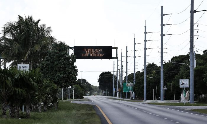 KEY LARGO, FL - SEPTEMBER 08: The roads are empty after most residents have already evacuated as Hurricane Irma heads towards the the Florida Keys on September 8, 2017  in Key Largo, Florida.  The entire Florida Keys are under a mandatory evacuation notice as Hurricane Irma approaches the low-lying chain of islands south of Miami.  (Photo by Marc Serota/Getty Images)