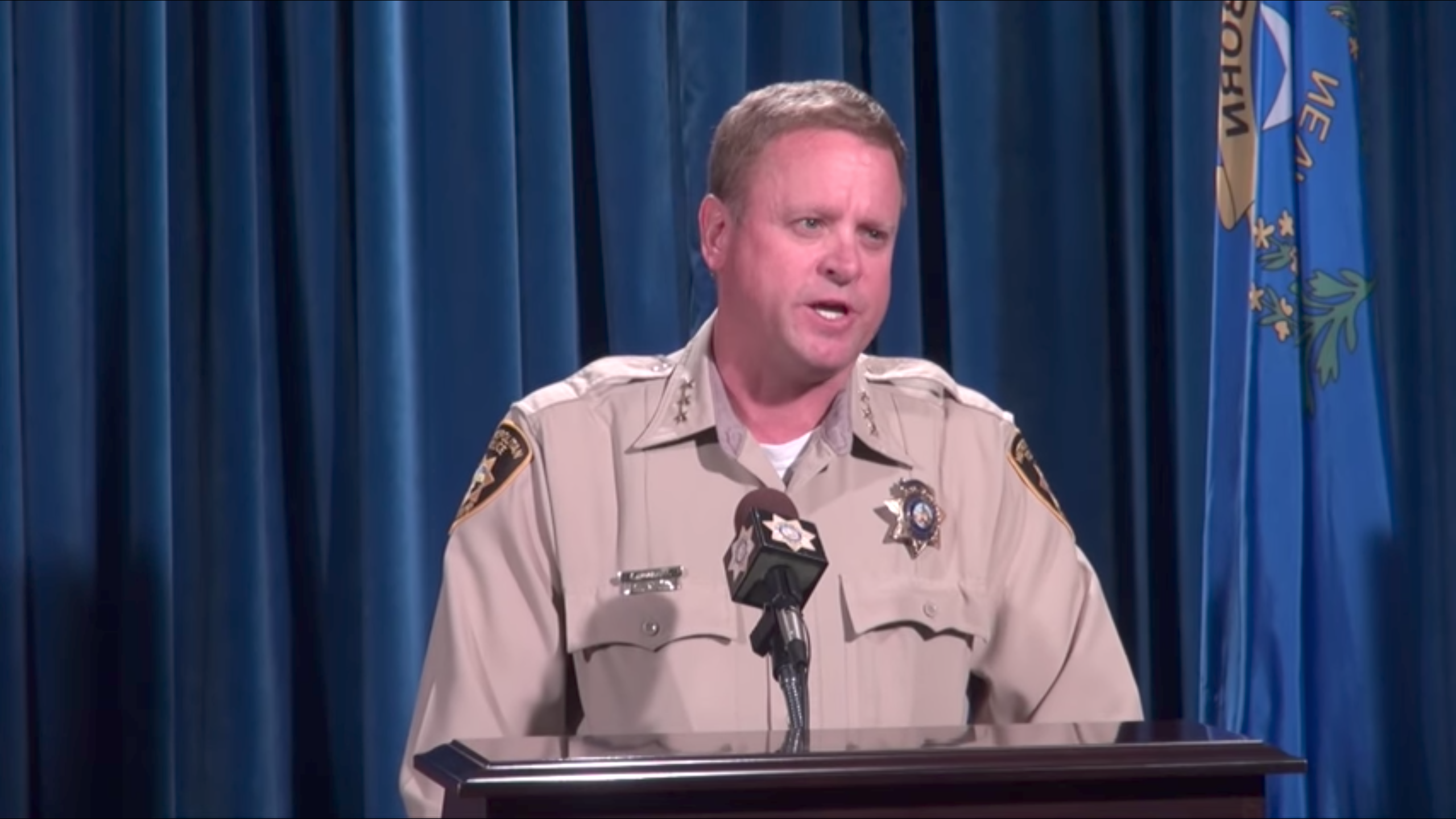 Las Vegas Metropolitan Police Department Undersheriff Kevin McMahill responded to Michael Bennett's tweet at a press conference on Sept. 6, 2017. (Screenshot/Storyful video)
