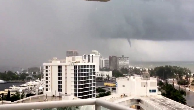 A tornado is seen from Fort Lauderdale beach, Florida, U.S., September 9, 2017, in this still image taken from a video obtained from social media. (Twitter/Karina Bauza/via Reuters)