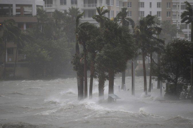 MIAMI, FL - SEPTEMBER 10: Water flows out of the Miami River to flood a walkway as Hurricane Irma passes through on September 10, 2017 in Miami, Florida. Hurricane Irma made landfall in the Florida Keys as a Category 4 storm on Sunday, lashing the state with 130 mph winds as it moves up the coast. (Joe Raedle/Getty Images)