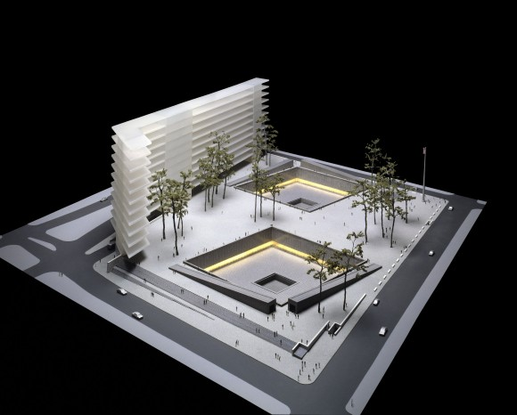 "NEW YORK - NOVEMBER 19: This artist's rendering shows ""Reflecting Absence: A Memorial at the World Trade Center Site"" by Michael Arad, one of the eight finalists for a World Trade Center memorial released November 19, 2003 in New York City. (Photo by Lower Manhattan Development Corp. via Getty Images)"