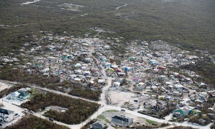 An aireal view shows damage after hurricane Irma passed over Providenciales on the Turks and Caicos Islands, September 11, 2017. (Cpl Darren Legg RLC/Ministry of Defence handout via REUTERS)