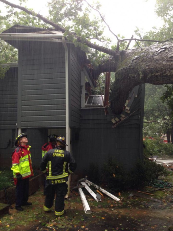 A tree smashed into a house killing a man inside in Sandy Springs, Ga., on Sept. 11, 2017, as Tropical Storm Irma moved across the state. (City of Sandy Springs)
