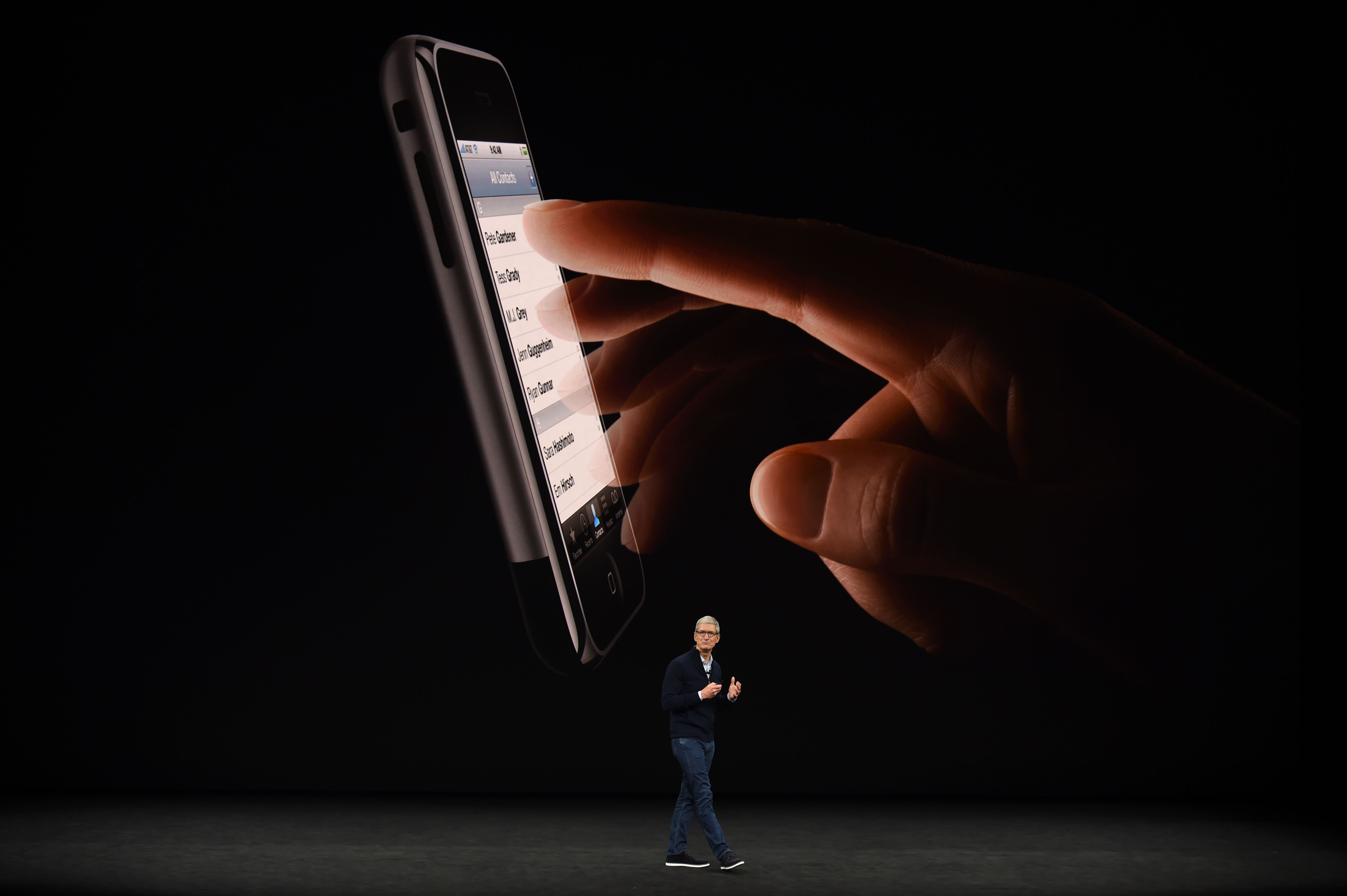 Apple CEO Tim Cook speaks about the new iPhone 8 during a media event at Apple's new headquarters in Cupertino, Calif., on Sept. 12, 2017. (JOSH EDELSON/AFP/Getty Images)