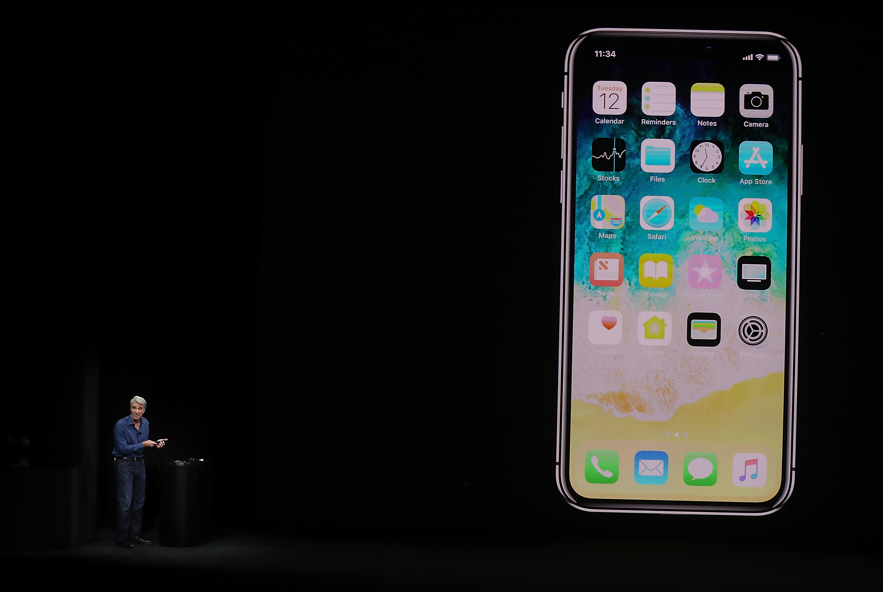 Apple Senior Vice President of Software Engineering Craig Federighi introduces the new iPhone X during an Apple special event at the Steve Jobs Theatre on the Apple Park campus in Cupertino, Calif., on Sept. 12, 2017. (Justin Sullivan/Getty Images)