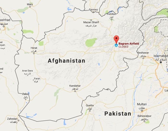 The location of Bagram Airfield in Afghanistan. (Screenshot via Google Maps)
