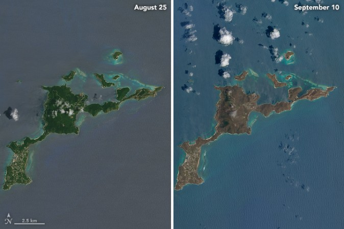 A close-up of Virgin Gorda reveals the same dramatic change before and after Hurricane Irma. (NASA via Landsat 8 satellite)