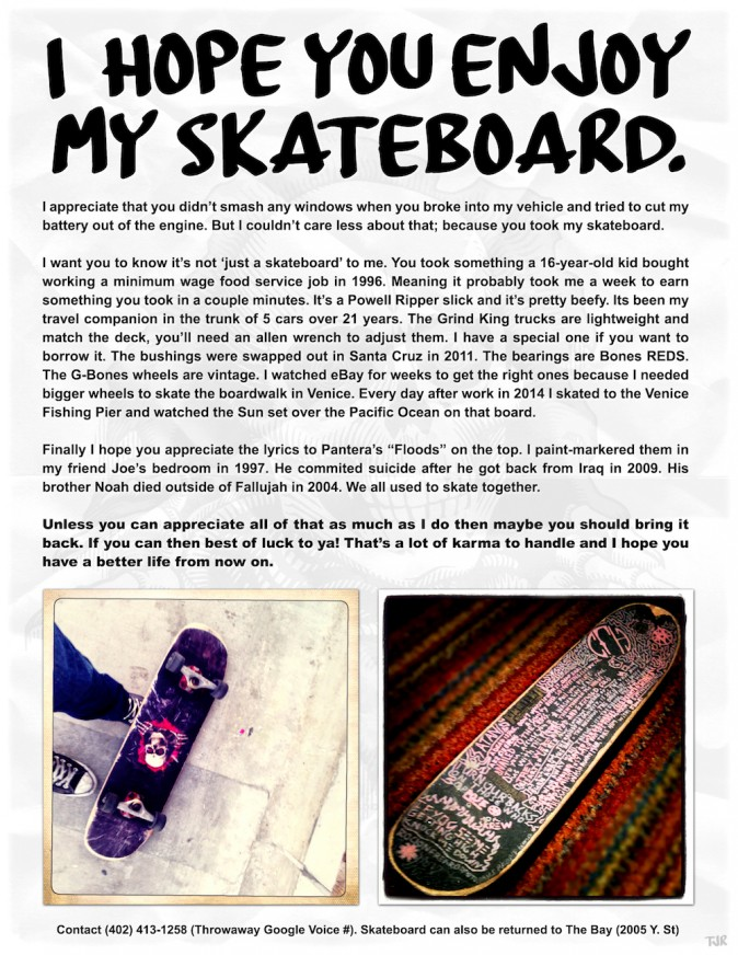 A note to the thief of a skateboard. (Courtesy of TakenFloods)