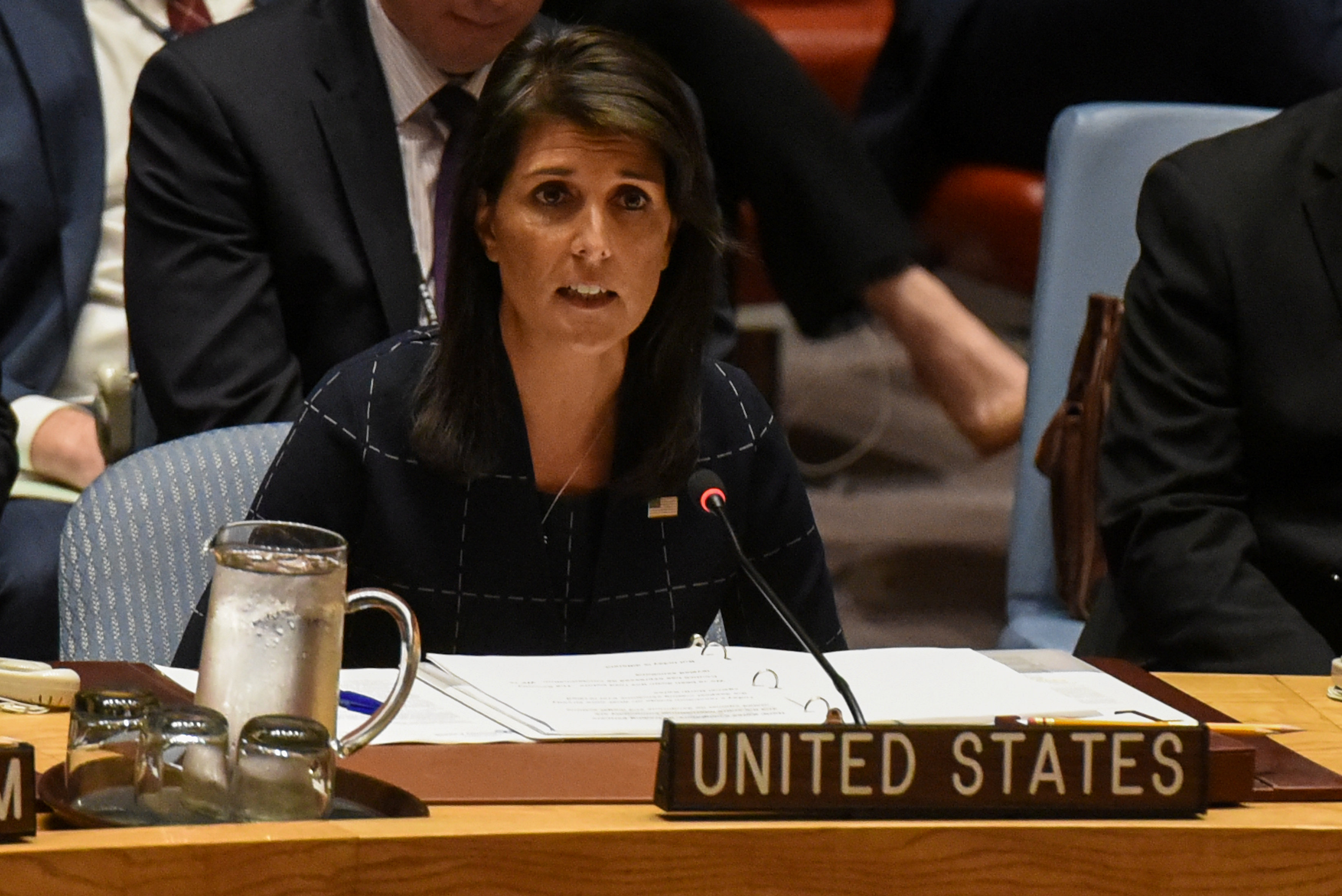 U.S. Ambassador to the UN, Nikki Haley, delivers remarks during a United Nations Security Council meeting on North Korea in New York City on Sept. 11, 2017. (REUTERS/Stephanie Keith)