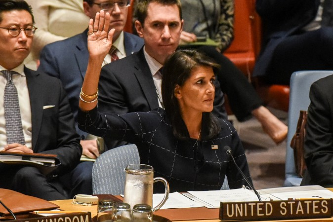 U.S. Ambassador to the UN, Nikki Haley votes during a United Nations Security Council meeting on North Korea in New York City on Sept. 11, 2017. (REUTERS/Stephanie Keith)