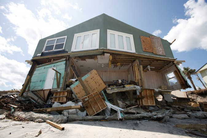 A damaged coastal house is pictured after Hurricane Irma passed the area in Ponte Vedra Beach, Florida, U.S., September 12, 2017. (Reuters/Chris Wattie)