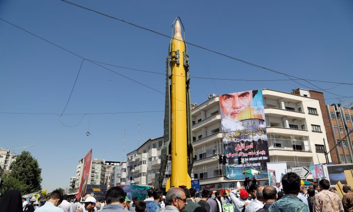 A Shahab-3 medium-range missile is displayed during a rally in Tehran, Iran, on June 23. (STRINGER/AFP/Getty Images)