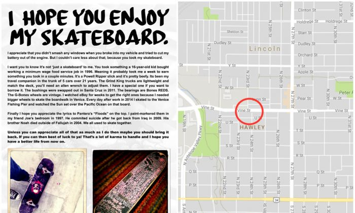 L: A note to the thief of a skateboard. (Courtesy of TakenFloods); R: A place where the van from where the skateboard was stolen was parked in Lincoln, Neb. (Screenshot via Google Maps/The Epoch Times)