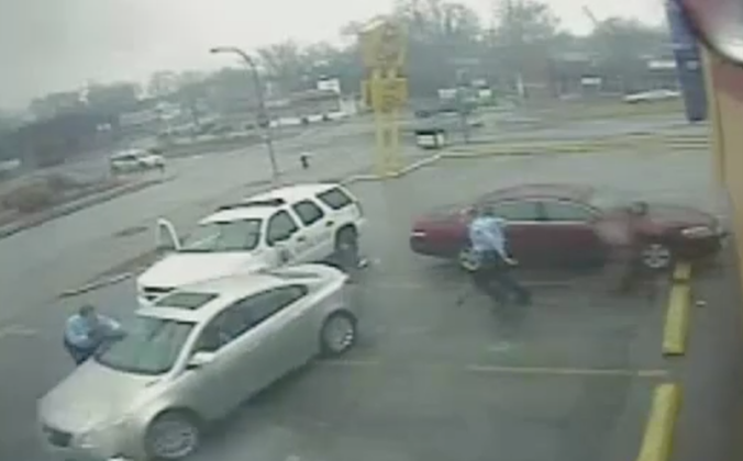 Security camera footage captured the moment Anthony Smith sped away from officer Jason Stockley on Dec. 20. 2011. (Screenshot/security camera footage used at trial)