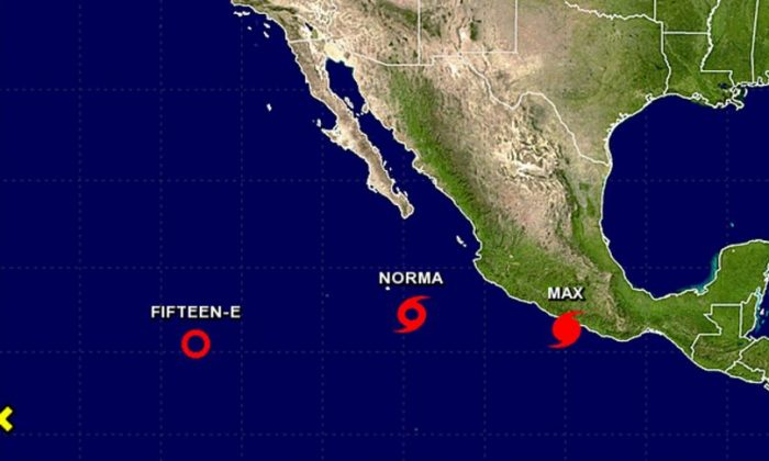 Tropical Storm Norma and Hurricane Max (NHC/ NOAA)