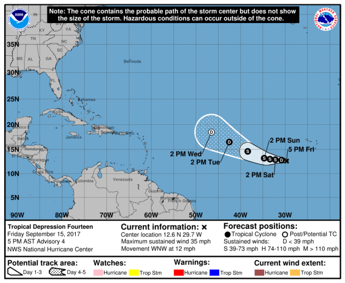 The location of Tropical Depression Fourteen (NHC / NOAA)