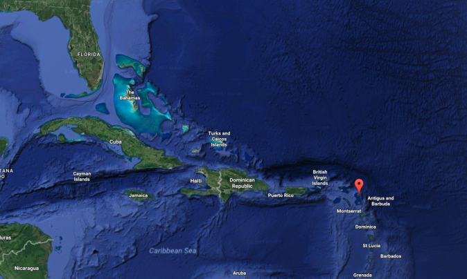 The location of the Island of Barbuda. (Screenshot via Google Maps)