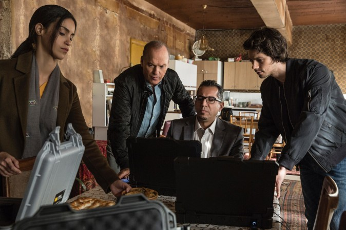 (L–R) Shiva Negar, Michael Keaton, Neg Adamson and Dylan O'Brien in