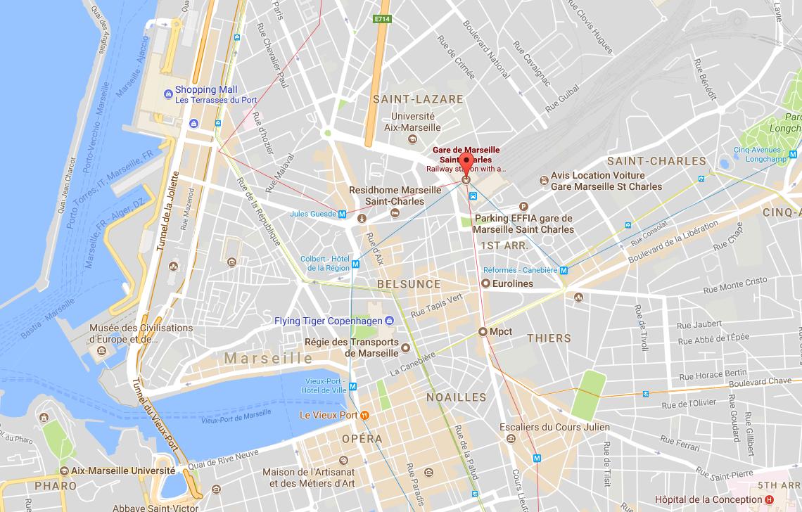 Saint-Charles train station in Marseille, France. (Screenshot via Google Maps)