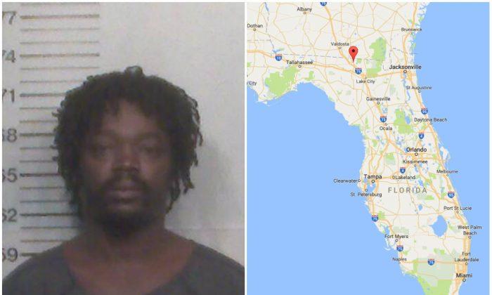 L: Angelo Mitchell. (Hamilton County Jail); R: Jasper, Fla. (Screenshot via Google Maps)