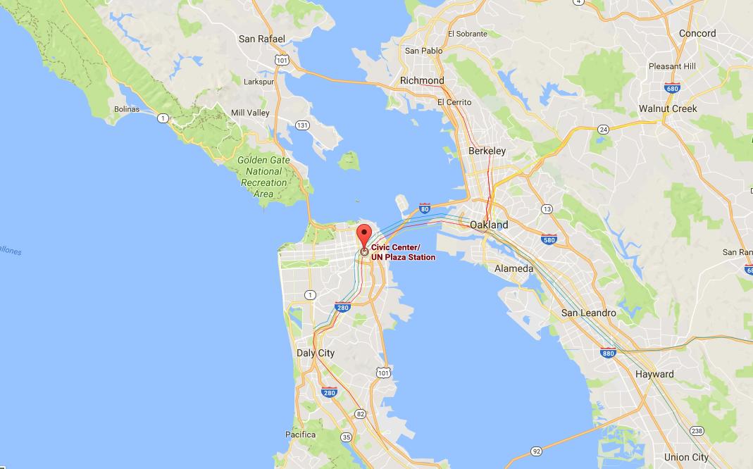 Civic Center train station in San Francisco. (Screenshot via Google Maps)